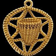 Large Charleston Sweet Grass Basket Wall Pocket, Hand Made American Folk Art