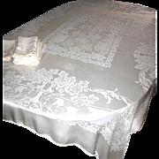 Vintage Ivory Damask Tablecloth + 10 Matching Napkins