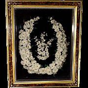 Victorian Framed Feather Wreath, Shadowbox
