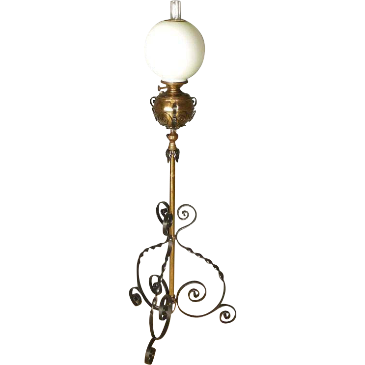 Victorian iron brass floor lamp for White victorian floor lamp