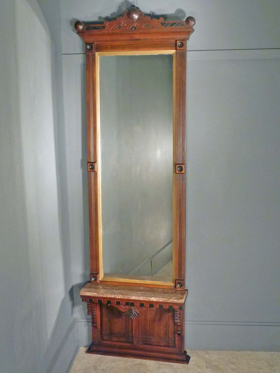 Victorian Eastlake Pier Hall Mirror With Marble From