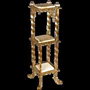 Unusual Corner Brass & Onyx Stand