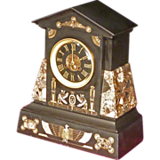 Egyptian Revival Marble Mantle Clock