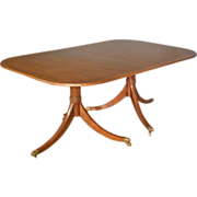 Custom Mahogany Duncan Phyfe Dining Table with Large Leaf