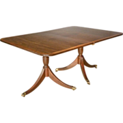 Double Pedestal Dining Table with Banded Inlaid Top