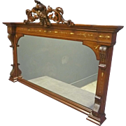 Walnut Victorian Mantle Mirror with Grapes