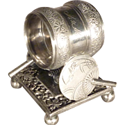 Silver Plate Victorian Napkin Ring with Fans