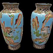 Pair Meiji Cloisonne' Vases, Japanese