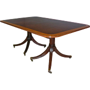 Rectangular Mahogany Double Pedestal Dining Table with Banded Top