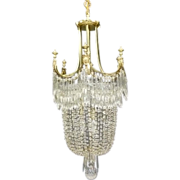 Cut Crystal and Brass Chandelier, 1905