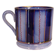 Staffordshire Flow Blue and Luster Mug mid 1800's
