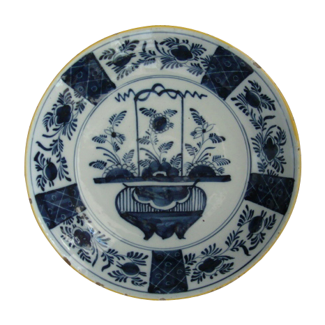 Large Blue and White Delft Charger Circa 18th C.