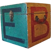Folk Art Wooden Box of Alphabetical and Mathematical Blocks