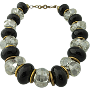 Vintage Black and Clear Lucite Beaded Necklace