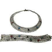 Vintage Sterling Mexican Linked Collar And Matching Bracelet Set With Gemstone Cabochons