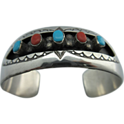 """Vintage Native American New Mexico Sterling Turquoise And Coral """"W Long"""" Cuff Bracel"""