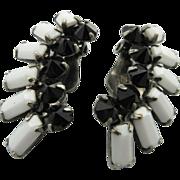 Vintage Sherman Black And White Crystal Earrings