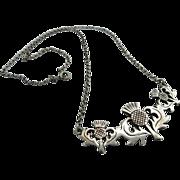 Vintage  Sterling Scottish Thistle Necklace Hallmarked Edinburgh 1982