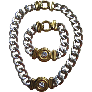 "Vintage Italian ""Unoaerre"" Sterling Necklace And Bracelet Set With Cubic Zirconia"
