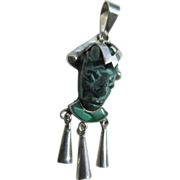 Vintage Mexican Sterling And Carved Malachite Mask Pendant