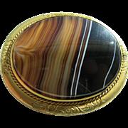 Antique Victorian Large Banded Scottish Agate Set In Gold Filled Frame Brooch