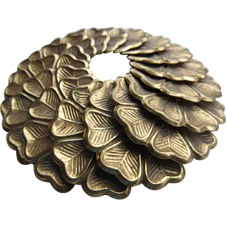 """Vintage Large ( 3 & 1/4 Inch In Diameter) Layered Brass brooch Signed """"Paris Fashion"""""""