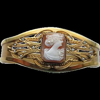 Vintage Gilded Brass Bracelet Set With Genuine Carved Shell  Cameo