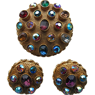 """Vintage """"Mode Art/ Art C """" Gold Plated  Brooch And Earrings Set With Multi Coloured Rhinestones"""