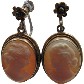 """Vintage """"800"""" European Silver Gilt Screw Back Earrings Set With Genuine Carved Shell Cameos"""
