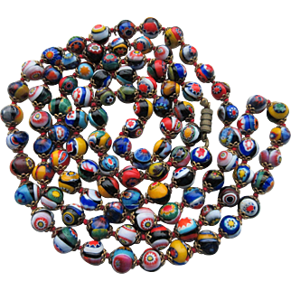 Vintage Murano Opera Length (42 Inches) Millefiore Beads