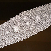 SOLD Vintage White Tape Lace Runner
