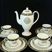 SOLD Wedgewood Blue Runnymede Coffee Pot With Four Breakfast Trios - Red Tag Sale Item