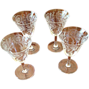 Four Etched Thistle Depression Wine Glasses