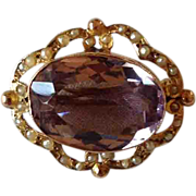Victorian Natural Amethyst and Seed Pearl Brooch/Pendant