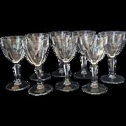 Eight Vintage Claret Glasses