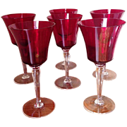 SOLD Six Ruby Red Wine Goblets