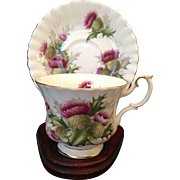Royal Albert China Tea Cup and Saucer Highland Thistle Pattern