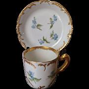 Antique Limoges Haviland  Demitasse Cup and Saucer c. 1876-1891