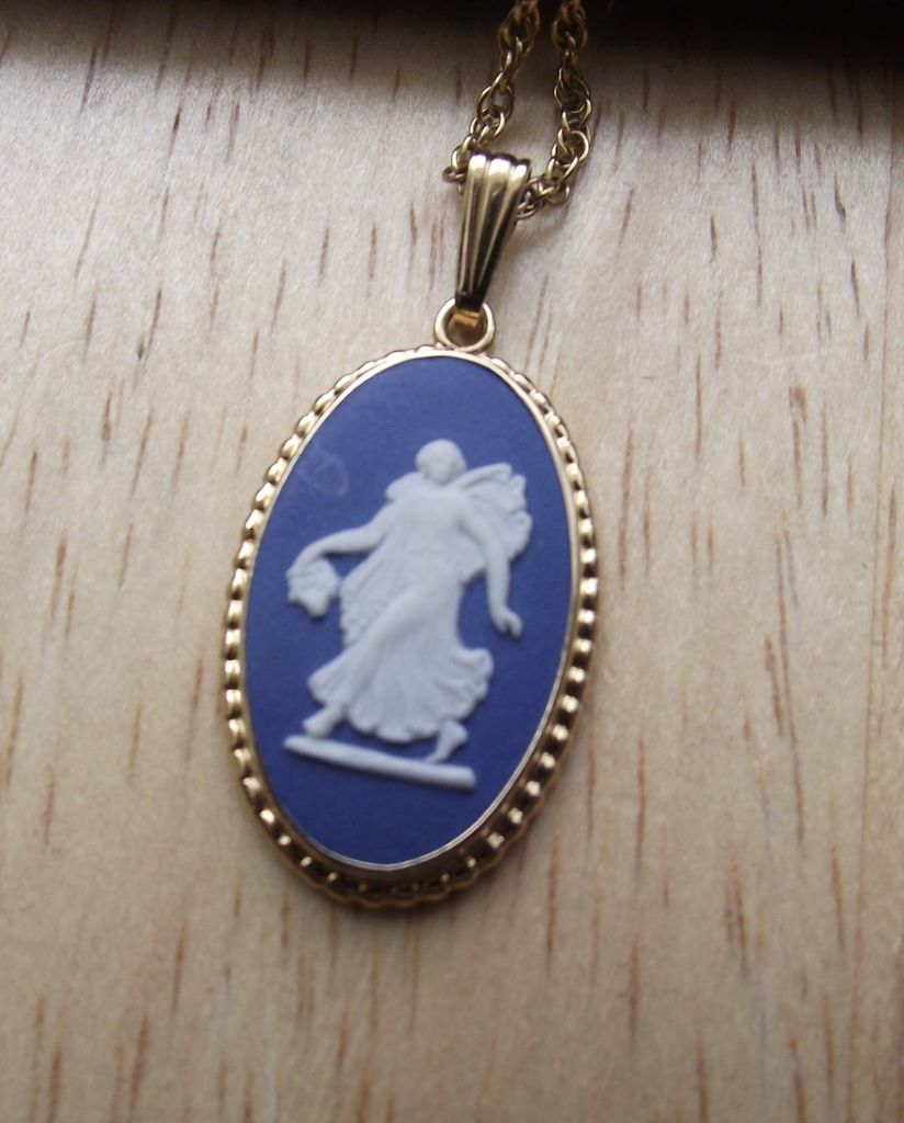 "Signed ""Wedgwood"" Blue Porcelain Cameo Pendant, Made In England"