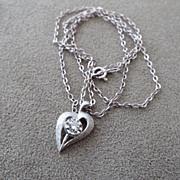14k White Gold & Diamond Stylized Heart Pendant, Vintage