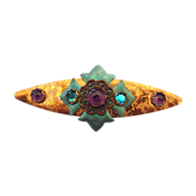 Unsigned Niobium Holly Yashi Brooch With Amethyst Stones