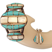 REDUCED Navajo Crafted Sterling Cuff Bracelet & Earring Set, Turquoise & Mother Of Pearl!