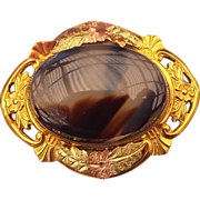 1940s Black Hills Gold Accented Banded Agate Pin!