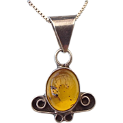 Baltic Amber Pendant Necklace, Sterling Setting & Chain!