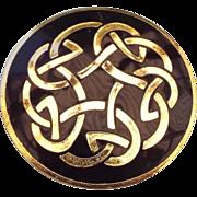 Celtic Motif Enamel Pin, Beautiful Black & Goldtone!