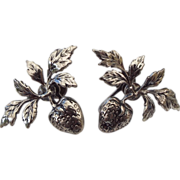 Signed Sterling Strawberry Earrings, 1940s - 50s
