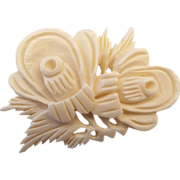 Asian Carved Bone Brooch Exceptional Detail!
