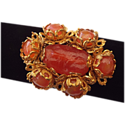 Miriam Haskell Signed Art Glass Fancy Brooch, Fabulous Construction!