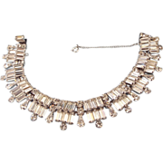 REDUCED 1940s Kramer Of NY Fabulous Crown Baguette Bracelet, Brilliant and Rare, Think Bridal!