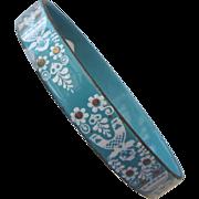REDUCED Beautiful Vintage Austrian Enamel Bracelet With Golden Accents!